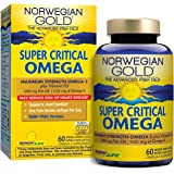 Norwegian Gold - Super Critical Omega - Omega 3 fish oil supplement - burpless - brain, heart, and joint health -60 softgel capsules - a Renew Life brand