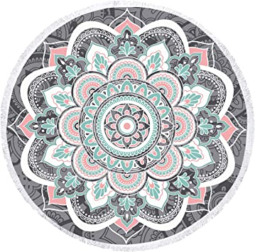 Zeronal Beach Throw Picnic Blanket Yoga Mat Beach Towel Round Tapestry Mandala Wall Hanging Hippie Wall Decor Art Psychedelic Tapestries