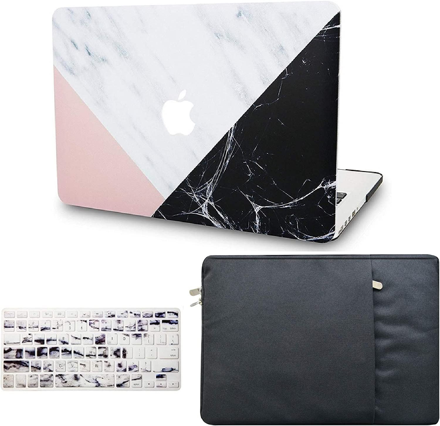 """KECC Laptop Case for MacBook Pro 15"""" (2019/2018/2017/2016) w/Keyboard Cover + Sleeve Plastic Hard Shell Case A1990/A1707 3 in 1 Bundle (White Marble Pink Black)"""