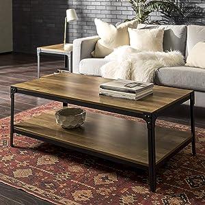 """WE Furniture Angle Iron Wood Coffee Table in Rustic Oak - 46"""""""