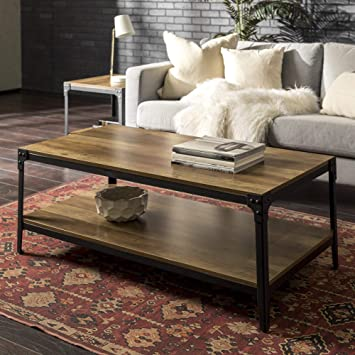 WE Furniture Rustic Farmhouse Coffee Accent Table Living Room, Reclaimed  Barnwood