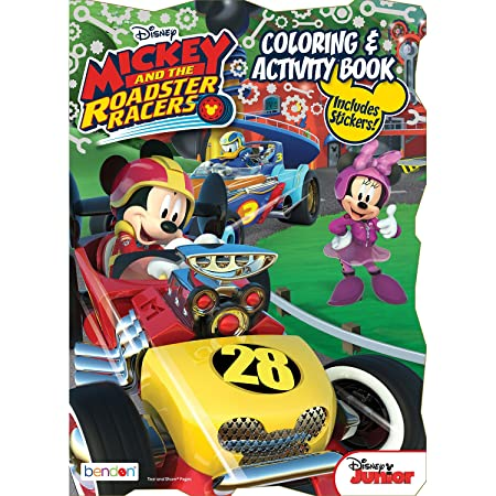 Amazon Bendon Mickey And The Roadster Racers Shaped Super Fun Coloring Activity Book 80 Pages 41720 Toys Games