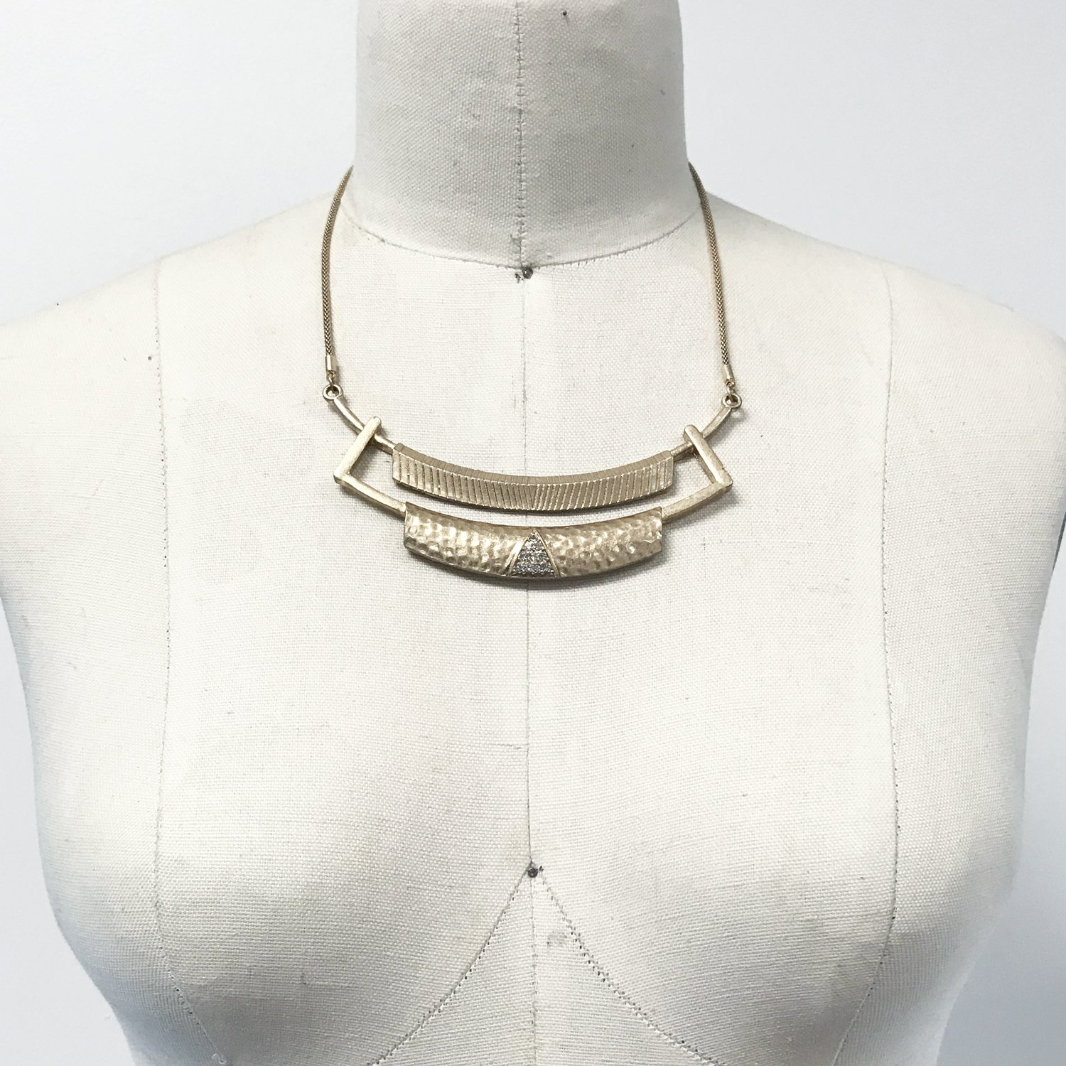Hammered gold bar pave stone bib boho necklace