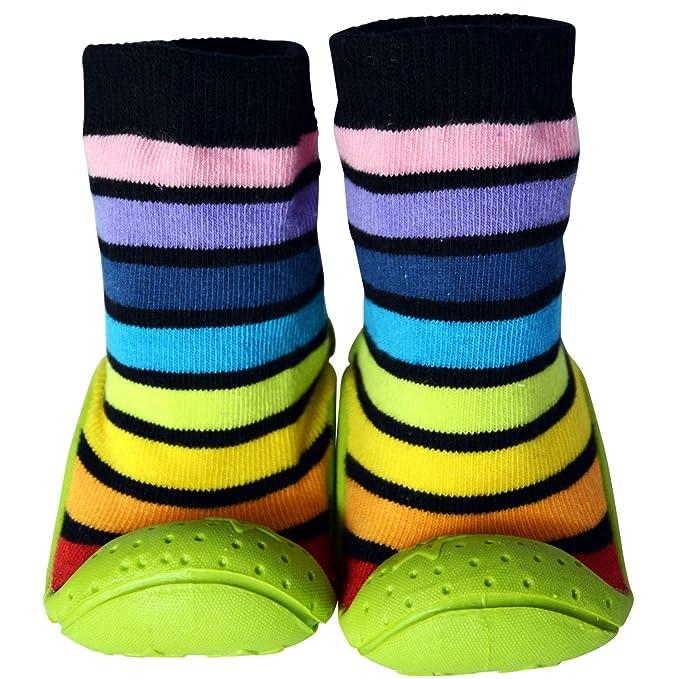 C2BB - Calcetines con suela antideslizante para niños | Rayados negros - Talla: 24