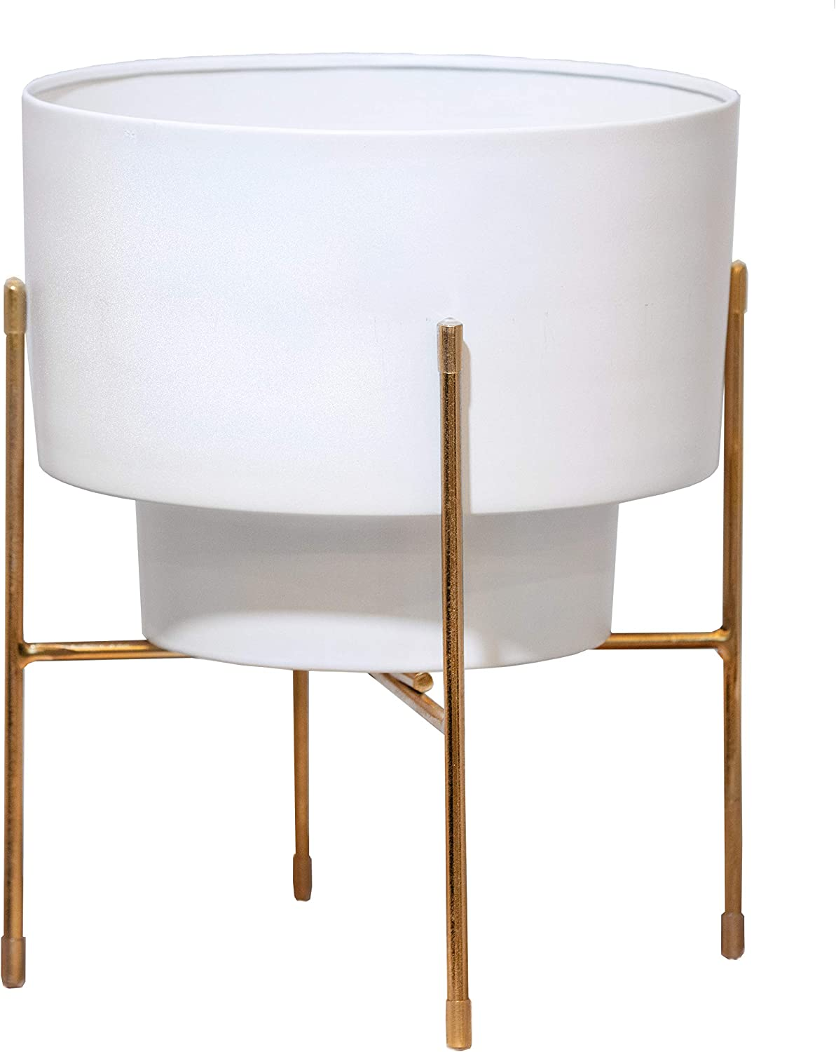 Green Heron Home Goods - Mid Century Modern Planter (White) with Gold Metal Stand - 14 in (H) x 11 (W)…