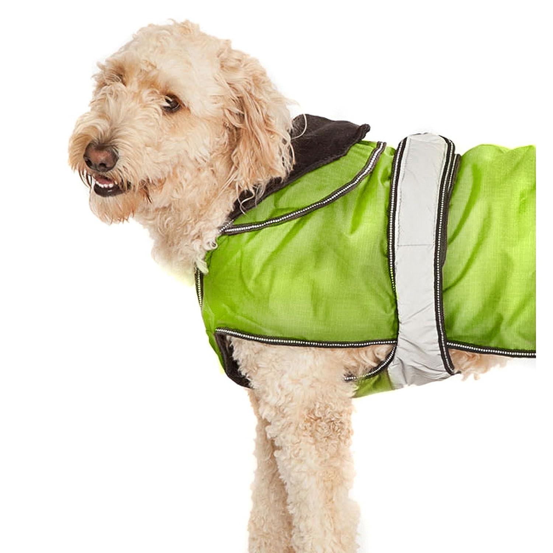 "2 in 1 Light Reflective Dog Coat Size: Size 45 cm (18"") (52 cm H x 26 cm W x 1 cm D), Colour: Neon Green Danish Design"