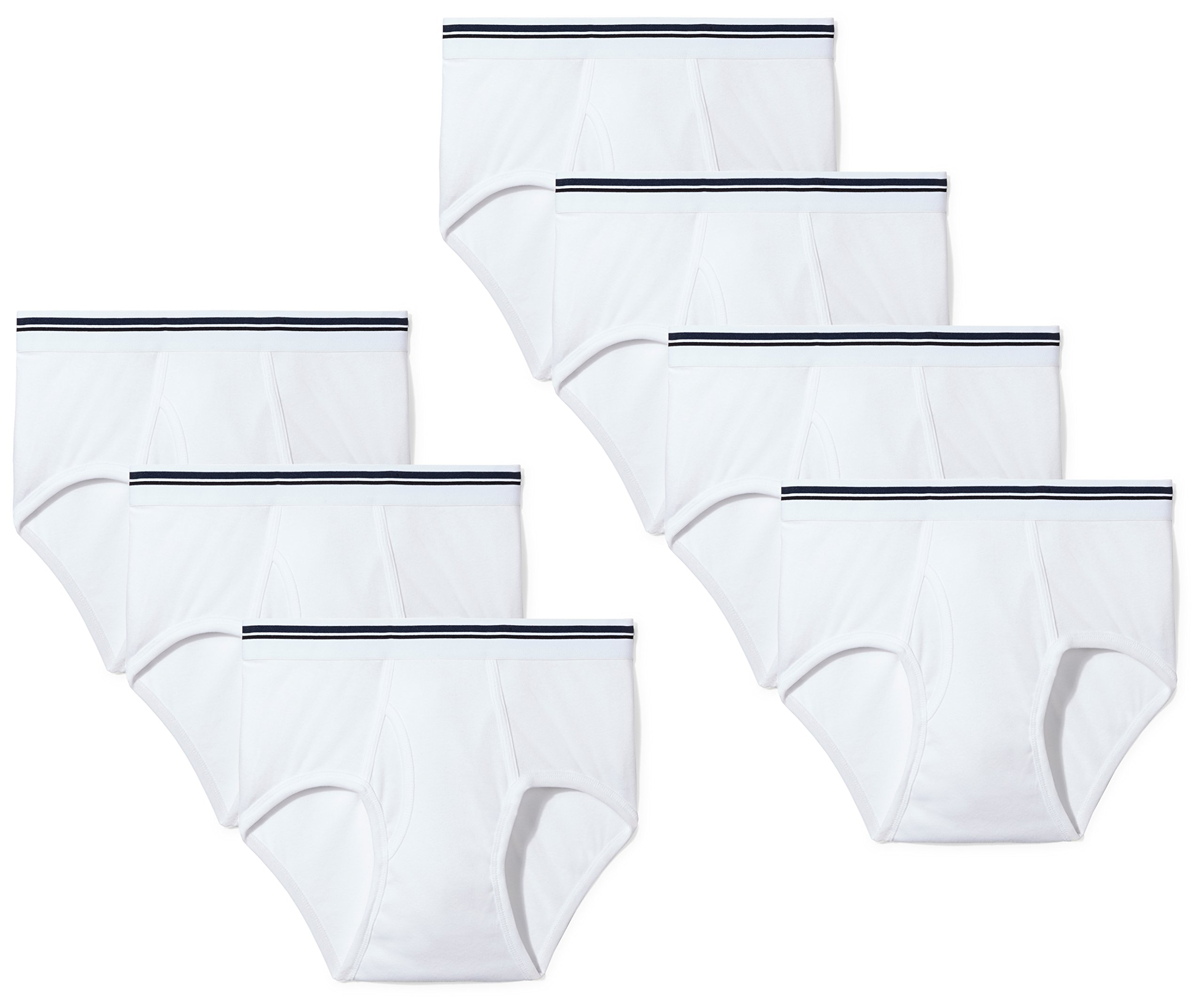 Amazon Essentials Men's 7-Pack Tag-Free Briefs, White, Large