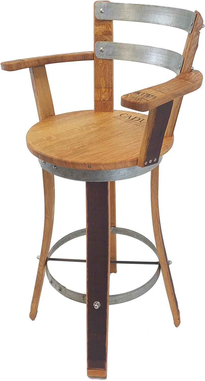 Central Coast Creations Swivel Top Wine Barrel Barstool W Armrest Wine Barrel Furniture (30
