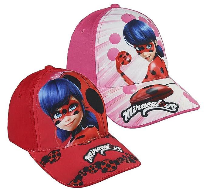 Pack 2 gorras de tela adaptables 2 diseños diferentes LADY BUG (Miraculous) rojo y rosa: Amazon.es: Ropa y accesorios