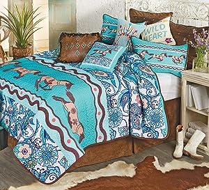Black Forest Décor Paisley Horse Quilt Set, Queen – Turquoise Southwest Bed Set, Includes Quilt & 2 Shams
