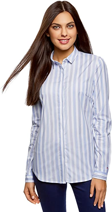 oodji Ultra Mujer Camisa Entallada a Rayas, Azul, ES 36 / XS ...