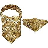 ヒスデン(HISDERN) アスコットタイ メンズ 結婚式 花柄 アスコットタイ チーフ セット 洗濯可能 20色 フォーマル スカーフ 紳士 ビジネス ネッカチーフ