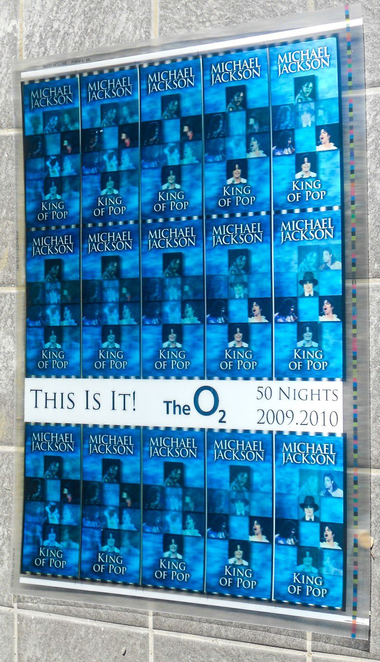 MICHAEL JACKSON Rare uncut sheet of THIS IS IT UK concert tickets BLUE VERSION