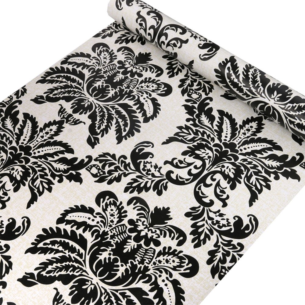 Black Damask Contact Paper Decorative Self Adhesive Shelf Drawer Liner Wallpaper Peel and Stick for Kitchen Cabinets Drawers Countertops Windows Crafts 17.7'' x 393''