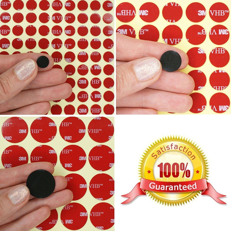 15 mm o 25 mm de di/ámetro x 0,64 mm de grosor ~ Modelo Cilindros de espuma acr/ílica VHB de 3 m ~ almohadillas autoadhesivas con puntos de cinta ~ 10 mm Simply the Best White 4930