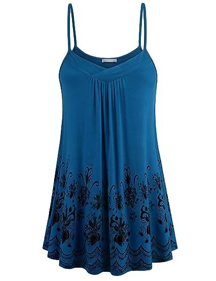 0e6328ddb0b Furnex Sleeveless Tunic for Women, Womens Lightweight Tunic Cami Casual  Summer Floral Camisoles Spaghetti Strap