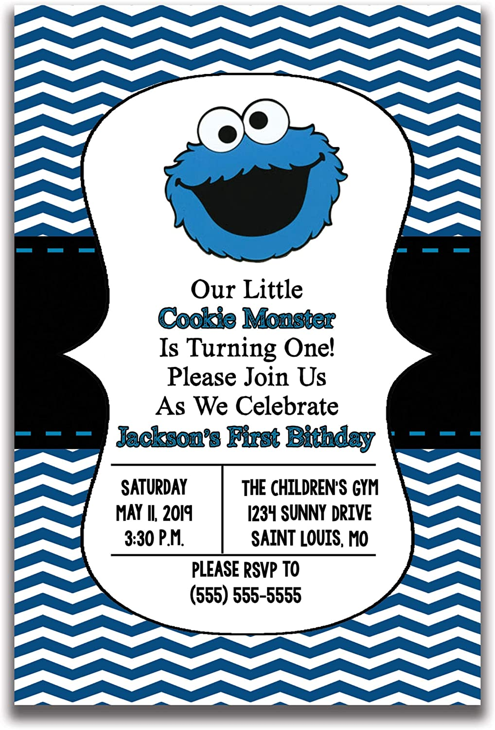 the melange market cookie monster inspired birthday party invitation 20 invitations per set envelopes included 4 inches by 6 inches party supplies