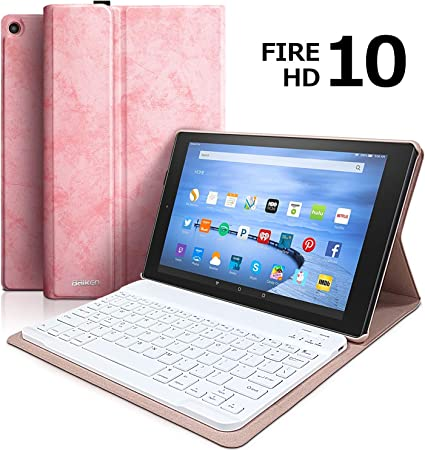 Keyboard Case for Fire HD 10 Tablet (9th Genertion 2019 Release,7th Generation 2017 Release) Detachable Wireless Bluetooth Keyboard Case for All-New ...