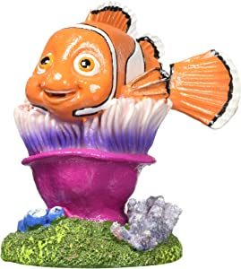 Penn Plax Finding Nemo Resin Ornament for Aquariums, Nemo on Anemone, 4-Inch