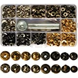 100 Sets Snap Fastener Kit Button Tool Press Studs Fastener Snap on Set Clothing Snaps Kit Fixing Tool (633(12.5mm)) 4 Colors for Leather Craft Repairing Decoration