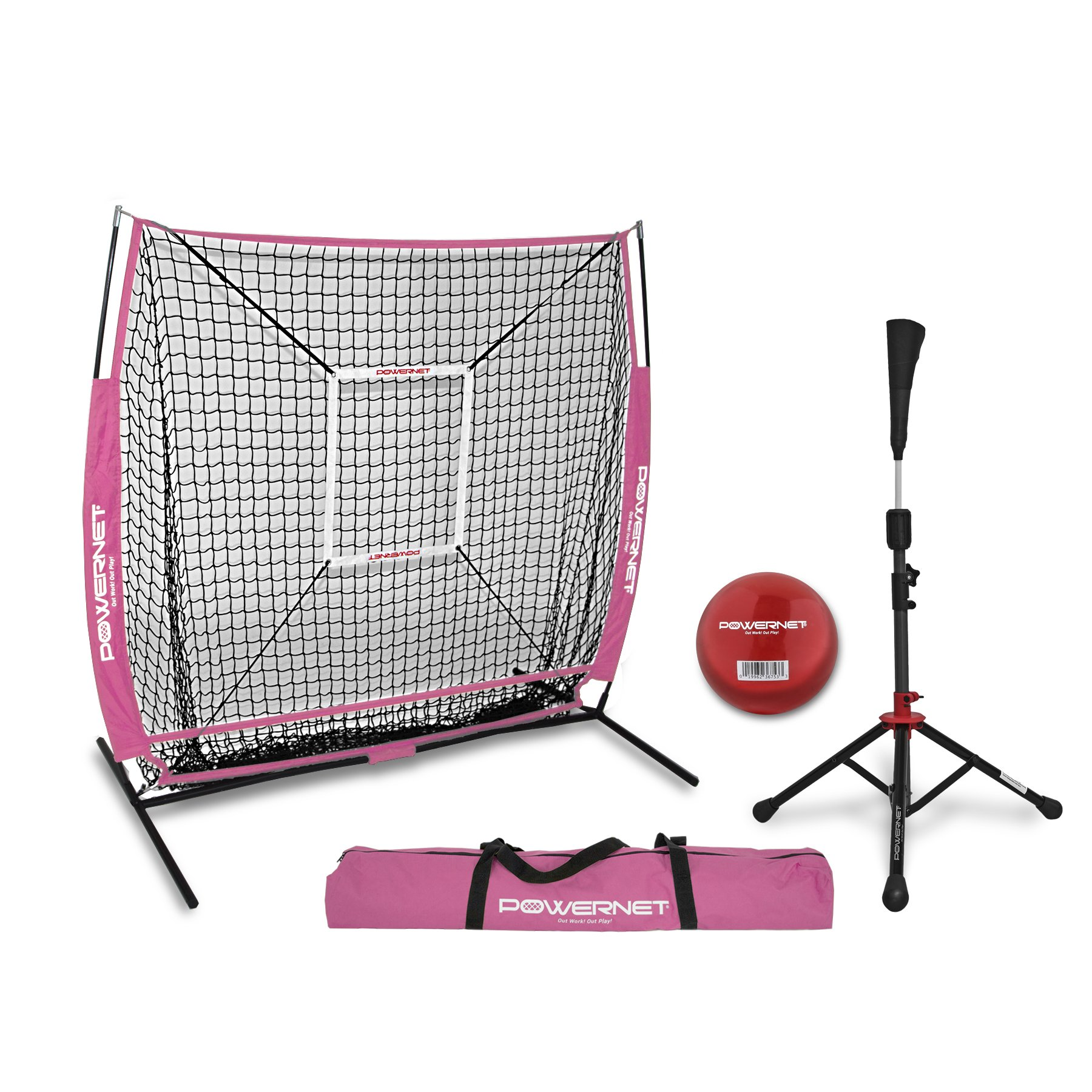 PowerNet 5x5 Practice Net + Deluxe Tee + Strike Zone + Weighted Training Ball Bundle (Pink) | Baseball Softball Pitching Batting Coaching Pack | Work on Pitch Accuracy | Build Plate Confidence