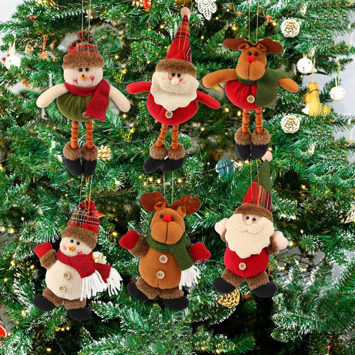 Christmas Plush Ornaments, FUNYU Xmas Hanging Decoration Santa Clause Snowman Reindeer Doll for Christmas Tree Pendant Stocking Ball Bell Holiday Party Decor (6 Pack)
