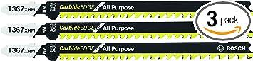 BOSCH T367XHM3 5-7 TPI Carbide Edge T-Shank Jig Saw Blades for All-Purpose (3 Piece), 5-3/16