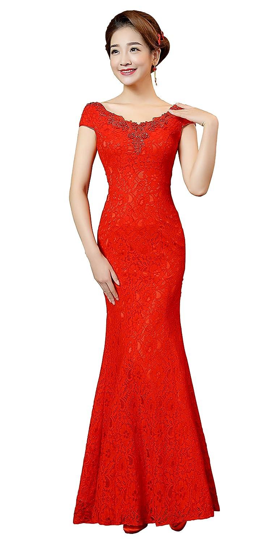 dfd12020d852 Clover Bridal 2017 Elegant Jewel Capped Lace Tassel Qipao Mermaid Wedding  Dress Red at Amazon Women's Clothing store: