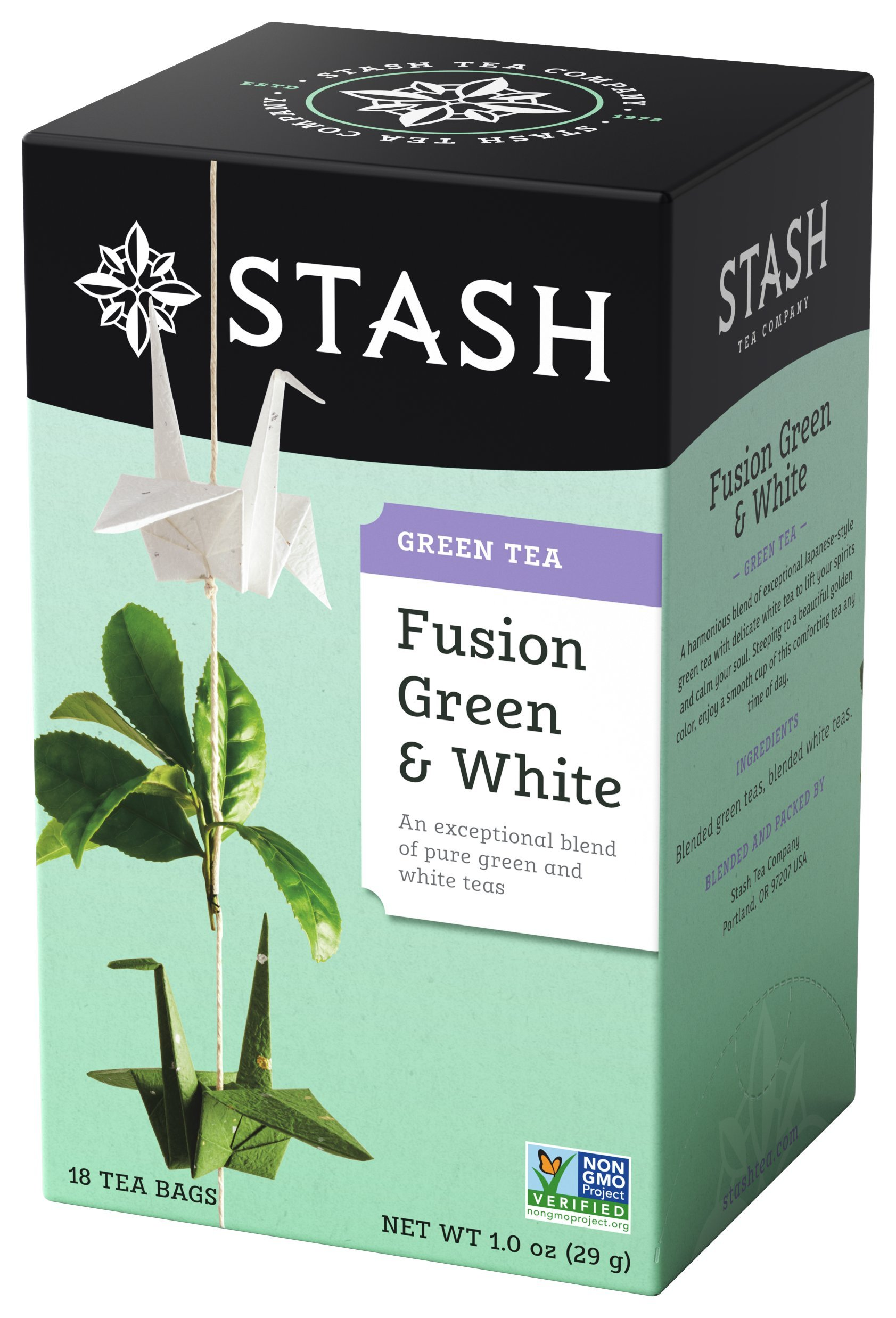 Stash Tea Fusion Green & White Tea, 18 Count Tea Bags in Foil (Pack of 6) (packaging may vary)
