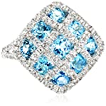 Sterling Silver Swiss Blue Topaz and White Topaz Ring, Size 7