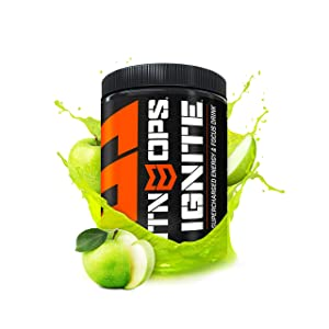 MTN OPS Ignite Supercharged Energy Drink Mix 45-Serving Tub, Green Apple