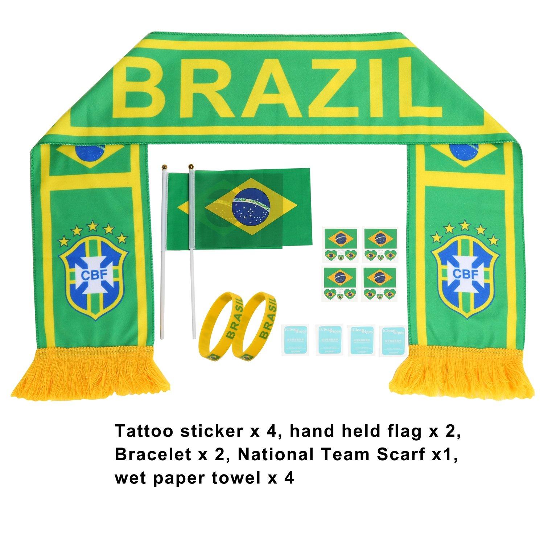 AOZKYロシアWorld Cup 2018 Football SuitファンスカーフフラグバナーHand Held用フラグステッカーシリコンブレスレットチアリーディングSuppliesパーティクラブバーデコレーションFestival Celebration B07BTRSBTH ブラジル ブラジル