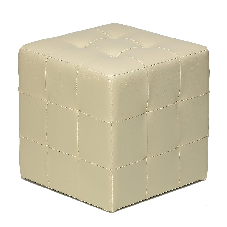 Amazon.com: Cortesi Home Braque Tufted Cube Ottoman, Ivory Faux Leather:  Kitchen & Dining - Amazon.com: Cortesi Home Braque Tufted Cube Ottoman, Ivory Faux