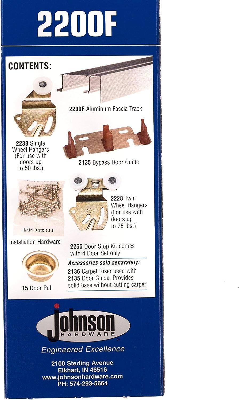 Johnson Hardware 2200F602 Twin Wheel Sliding Bypass Door Hardware 60