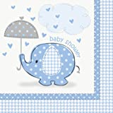 Unique Party - 41692 - Paquet de 16 Serviettes en Papier Baby Shower Éléphant - Bleu