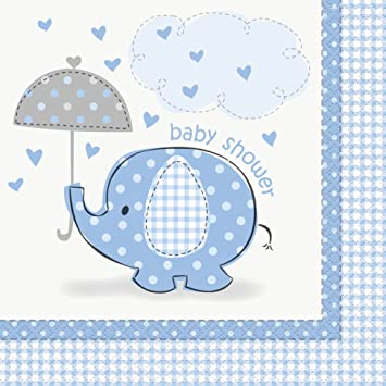 Nice Blue Elephant Baby Shower Party Napkins, 16ct