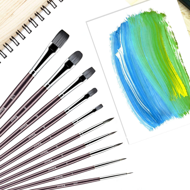 10Pcs Purple Artist Paint Brush Set Nylon Hair Watercolor Acrylic Oil Painting