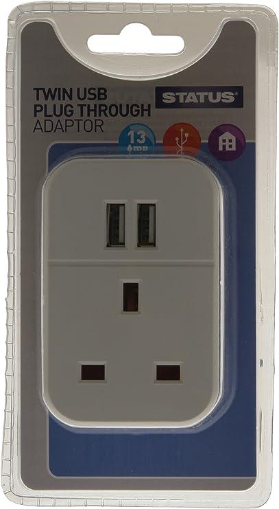 White Single Pack S2USBPTAWH1PK3 STATUS Twin USB Plug Through Socket Adaptor