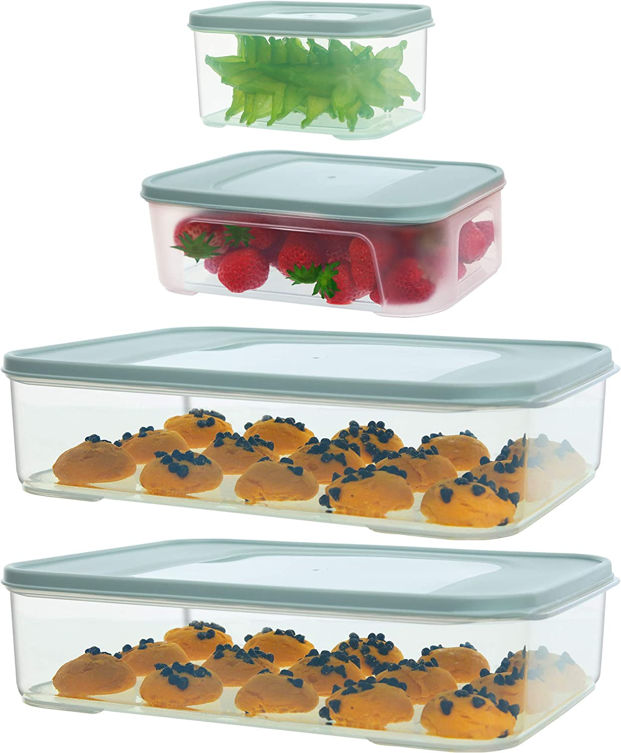 Citylife 4 Set Food Storage Containers with Lids Airtight 172oz, 60oz, 32oz Plastic Freezer Containers for Food Kitchen Food Prep Containers Microwave Dishwasher Safe