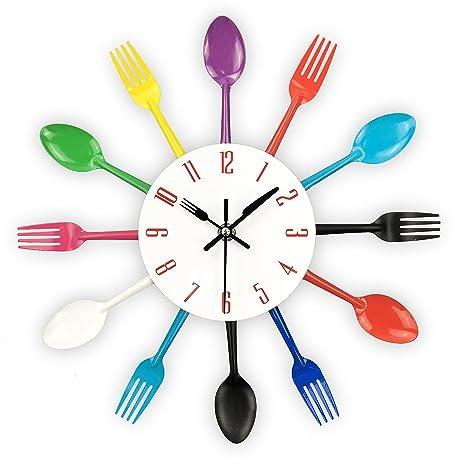 Reloj de cocina efecto espejo con diseño de cuchara, tenedor, cubertería, adhesivo extraible