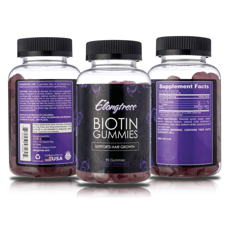 Gomitas biotina 5000 mcg por porción - 90 gomitas por botella - La biotina ayuda al crecimiento del cabello - crecer el pelo más largo con vitaminas ...