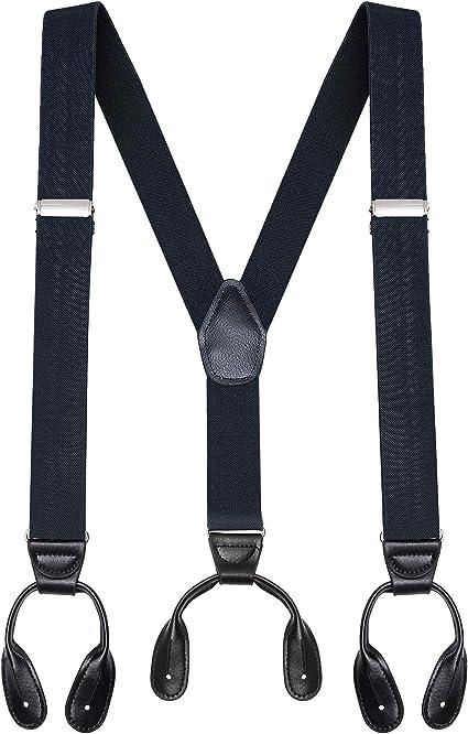 Mens Adjustable Heavy Duty Trouser Belt Suspender Elastic Leather Button Braces