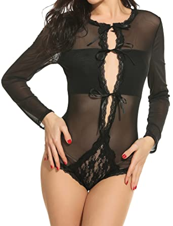 7fad93b08ee1 Avidlove Women Sexy Long Sleeve Bandage Bodysuits Jumpsuits Lace lingerie  Black S