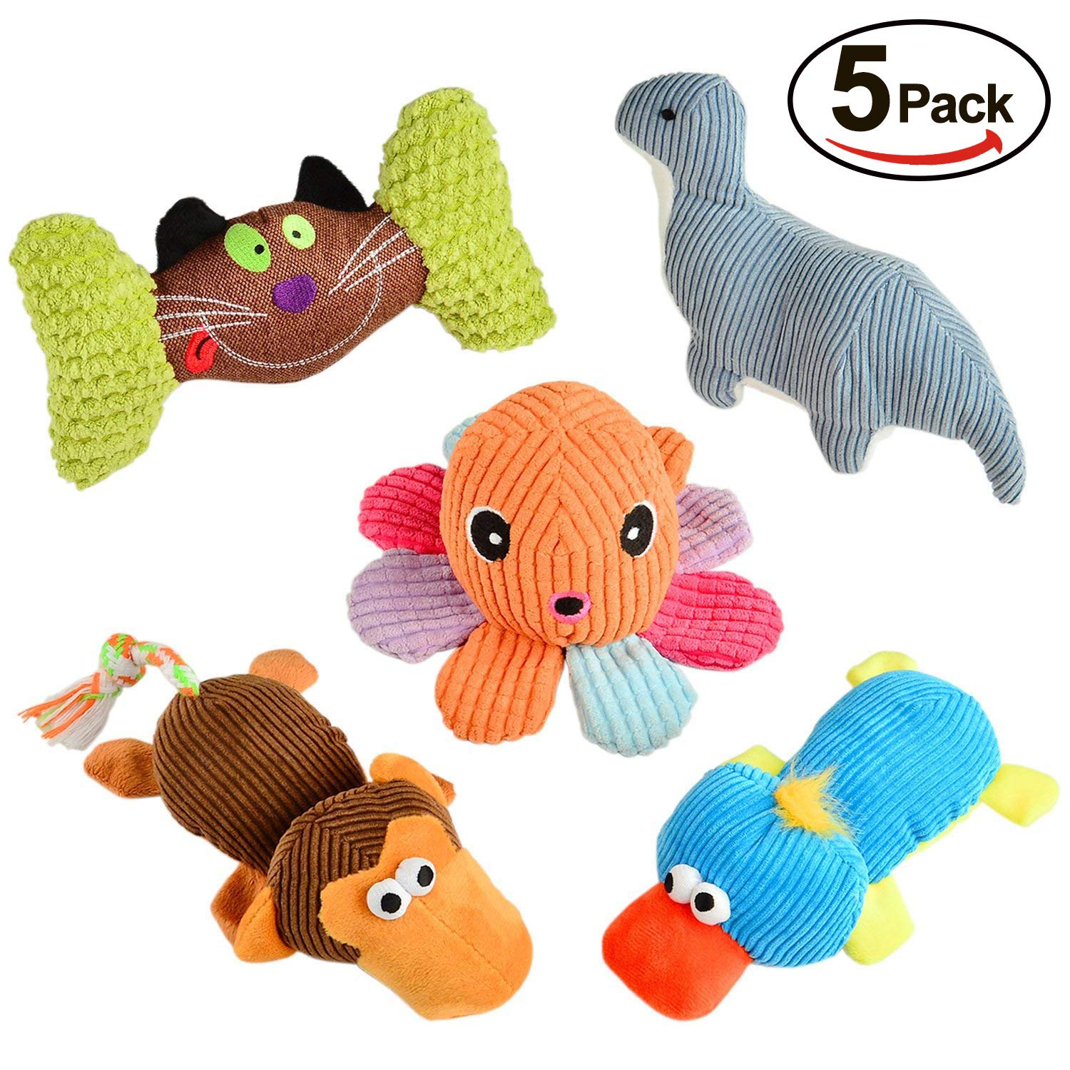 VVWEE Dog Squeaky Toys Plush, Durable Puppy Chew Toys Set, Soft Cute Small Dog Toy Stuffed Animal (5 pack)