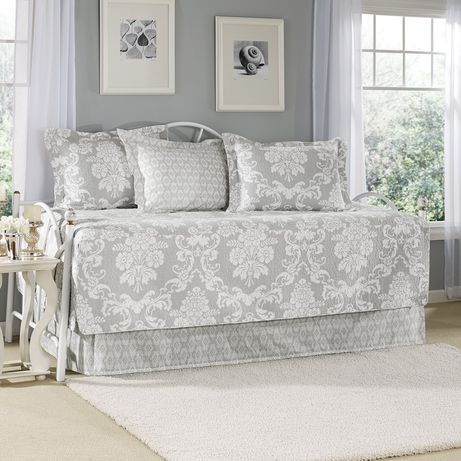 Amazon com  Laura Ashley 5 Piece Venetia Daybed Cover Set  Gray  Home    Kitchen. Amazon com  Laura Ashley 5 Piece Venetia Daybed Cover Set  Gray