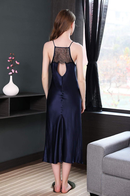 Paradise Silk Womens Pure Silk Long Dress Dark Blue Long Slips for Women