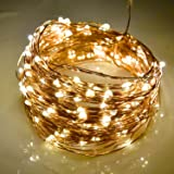 LightsEtc 200 LED String Light 66ft Copper Wire Warm White Waterproof Light 8 Modes Remote Control