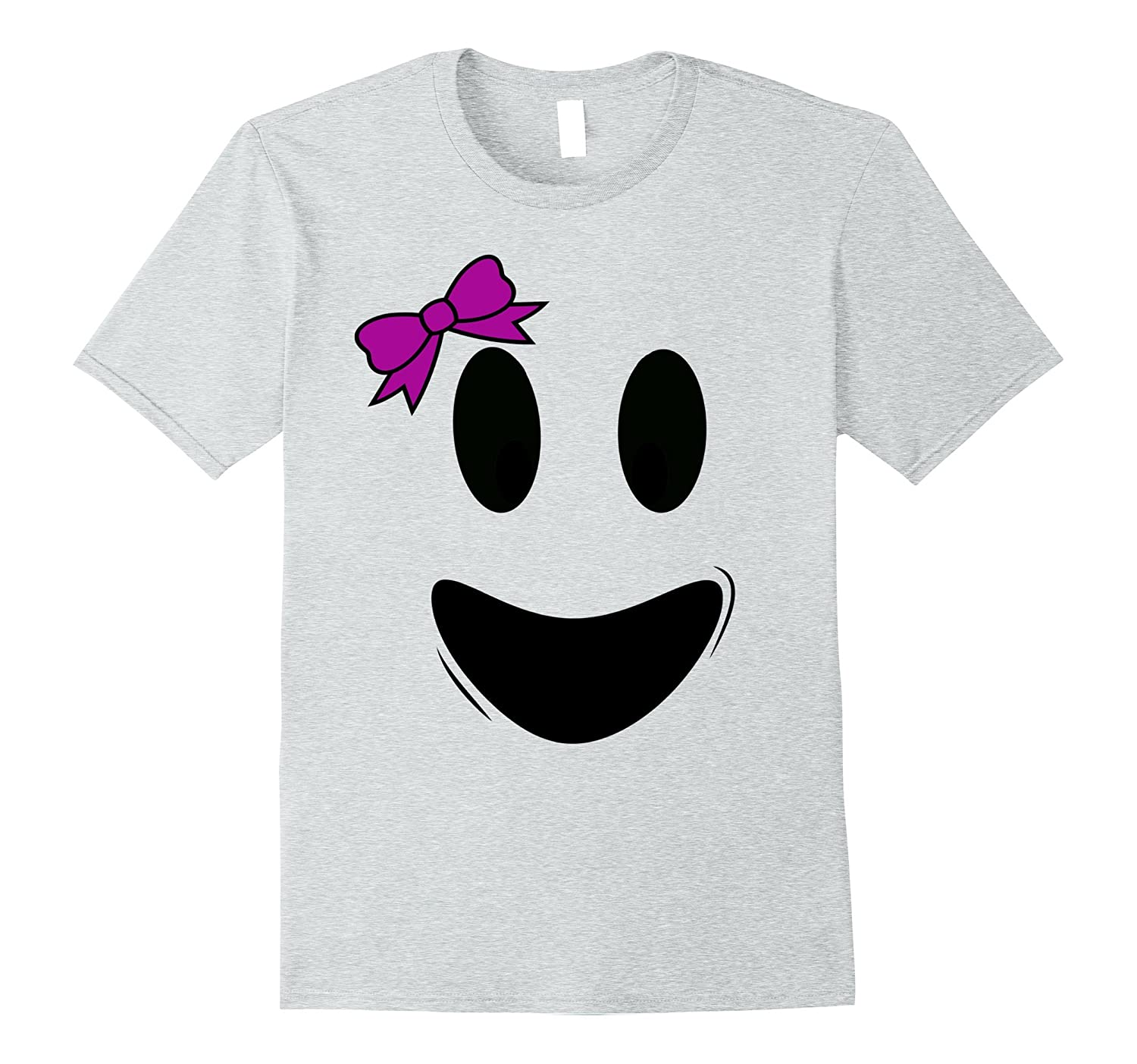 Cute Ghoul Face Ghost Tee Shirt Costume for Girls-TJ