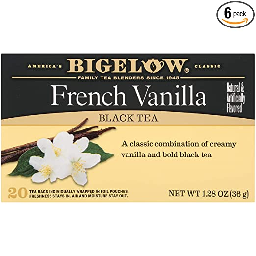 Bigelow French Vanilla Tea 20 Bags (Pack of 6) Caffeinated Individual Black Tea Bags, for Hot Tea or Iced Tea, Drink Plain or Sweetened with Honey or Sugar