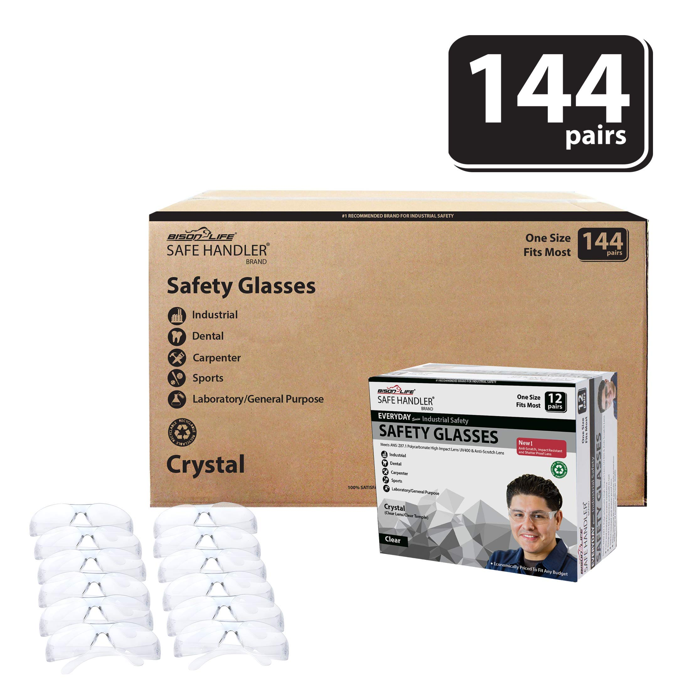 BISON LIFE Safety Glasses | One Size, Clear Protective Polycarbonate Lens, Clear Temple, 12 per Box (Case of 12 boxes, 144 pairs total)